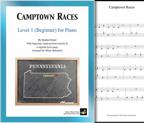 Camptown Races Level 1 - Cover sheet & 1st piano sheet