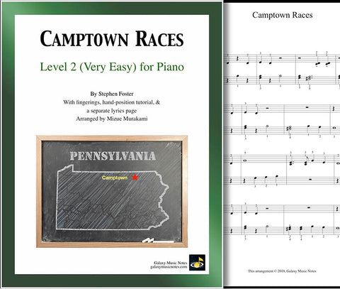Camptown Races Level 2 - Cover sheet & 1st piano sheet