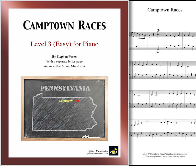 Camptown Races: Level 3 - 1st piano page & cover