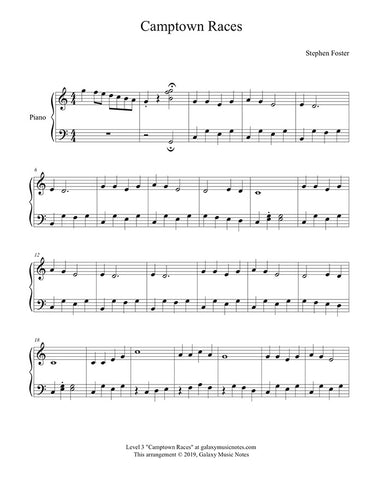 Camptown Races: Level 3 piano sheet music - page 1