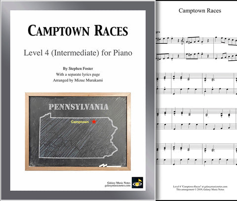 Camptown Races: Level 4 - 1st piano page & cover