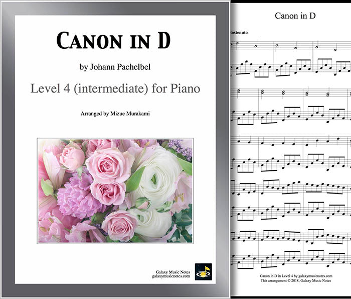 Canon in D by Pachelbel Level 4 - 1st music sheet & cover