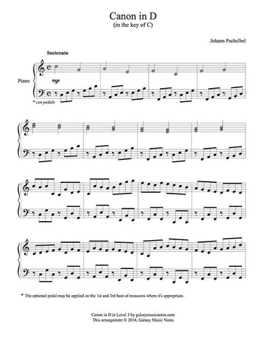 Canon in D Level 3 - 1st piano music sheet
