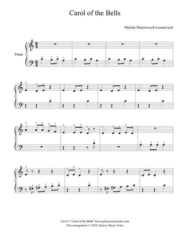 Carol of the Bells: Level 1 piano sheet music - Page 1