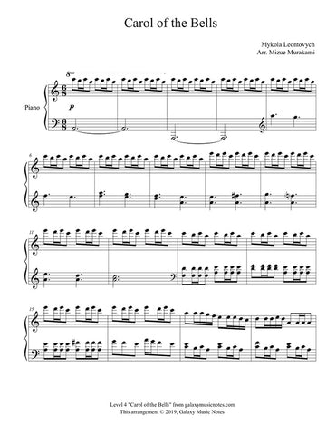 Carol of the Bells: Level 4 Piano sheet music - Page 1