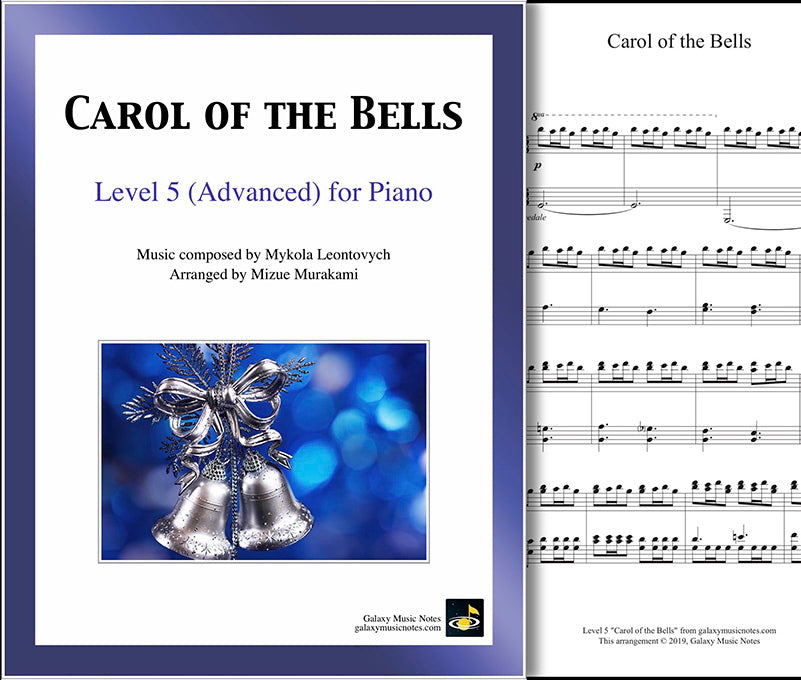 Carol of the Bells: Level 5 - 1st piano page & cover