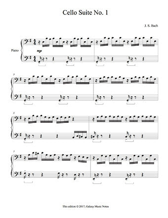 Cello Suite No. 1 by Bach Level 4 - 1st piano music sheet