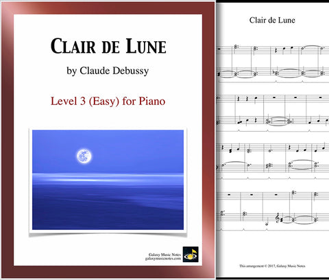 Clair De Lune Easy Piano Sheet Music Galaxy Music Notes