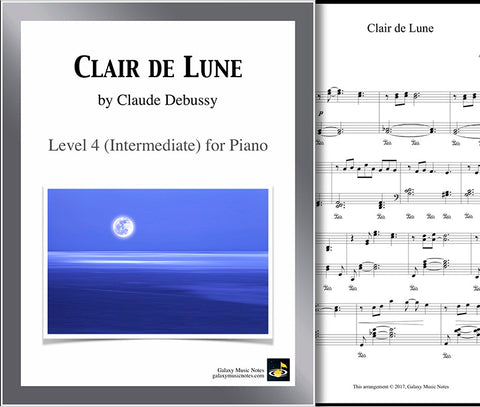Coversheet of Clair de Lune level 4 piano sheet music