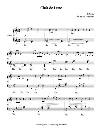 Clair de Lune level 4 - 1st piano music sheet