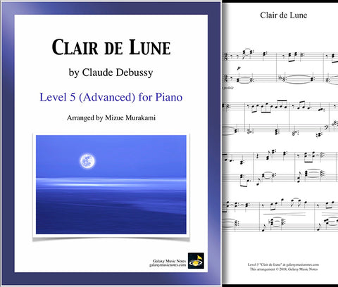 Clair de Lune: Level 5 - Cover & 1st music sheet