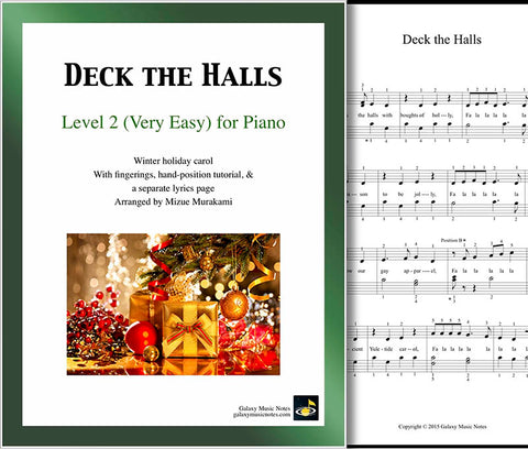 Deck the Halls Level 2 - Cover sheet & 1st piano sheet