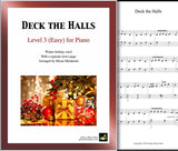 Deck the Halls Level 3 - Cover & 1st piano sheet