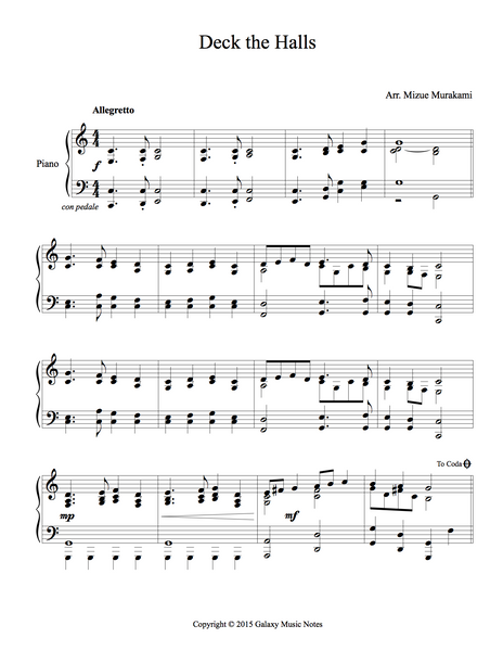 deck the halls piano pdf