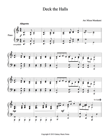 Deck the Halls Level 4 - 1st piano music sheet