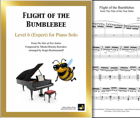 Flight of the Bumblebee: Level 6 - 1st piano page & cover