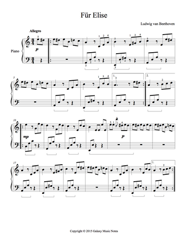 Fur Elise Level 5 - 1st piano music sheet