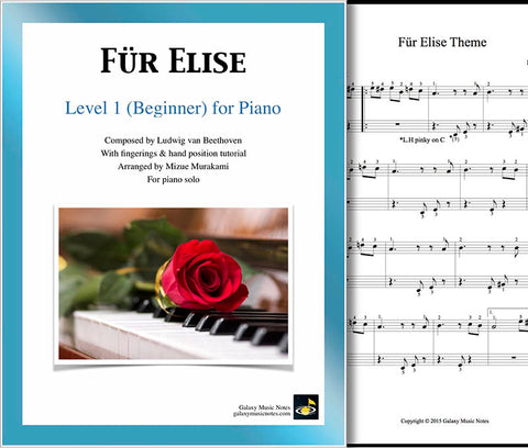 Fur Elise Level 1 - Cover sheet & 1st piano sheet