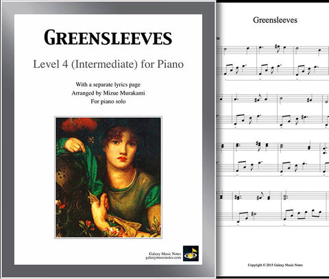 Greensleeves: Level 4 - 1st piano page & cover