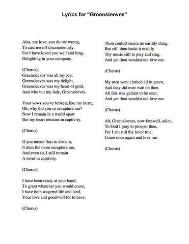 Greensleeves - Lyrics page