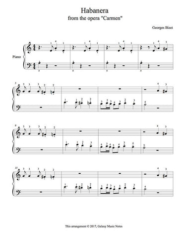 Habanera | Carmen | Level 1 | 1st piano music sheet