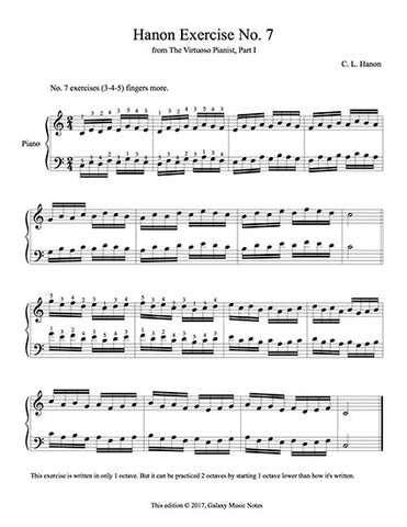 Hanon Exercise No. 7 sheet for piano