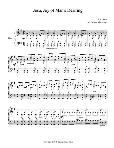 Jesu, Joy of Man's Desiring | Celtic | Level 5 | 1st piano sheet