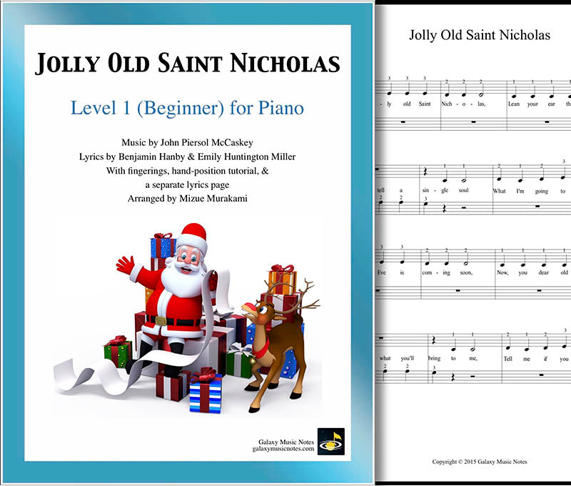 Jolly Old Saint Nicholas Level 1 - Cover & 1st piano sheet