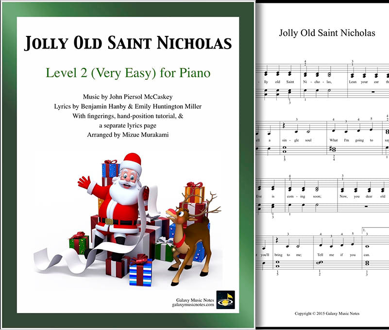 Jolly Old Saint Nicholas Level 2 - Cover & 1st piano sheet