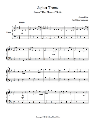 Jupiter Theme Level 3 - 1st piano music sheet