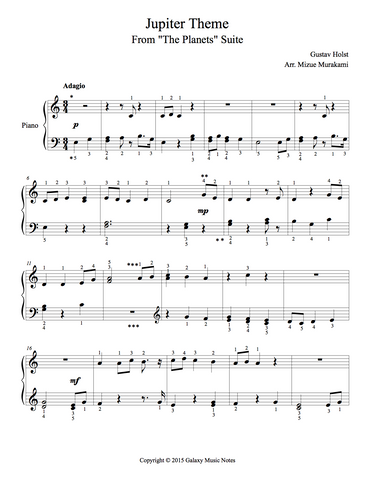 Jupiter Theme Level 2 - 1st piano music sheet