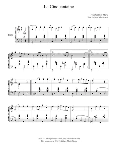 La Cinquantaine: Level 5 - Piano sheet music - Page 1