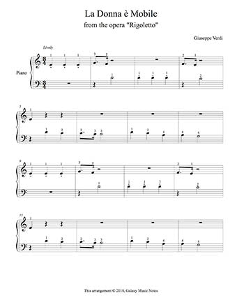 La Donna e Mobile Level 1 - 1st piano music sheet