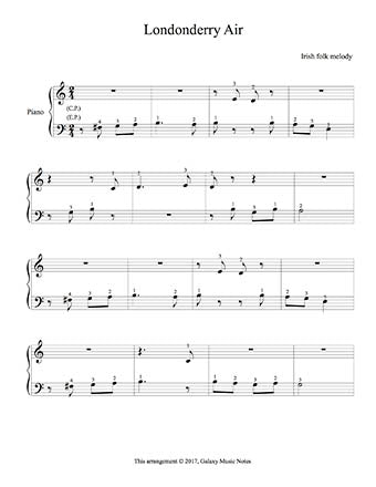 Londonderry Air Level 1 - 1st piano music sheet