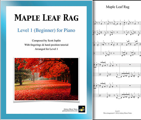 Maple Leaf Rag Level 1 - Cover & 1st music sheet