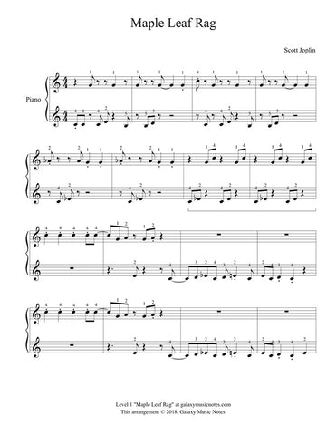 Maple Leaf Rag Level 1: Piano sheet music - Page 1