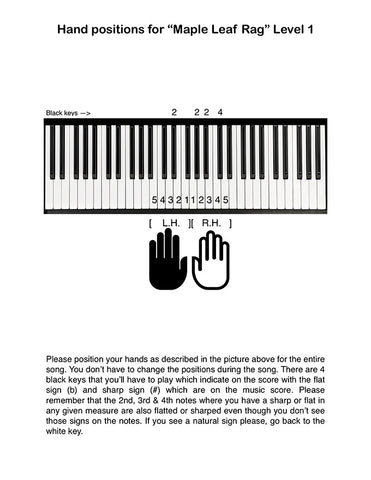 Maple Leaf Rag Level 1: Piano tutorial page