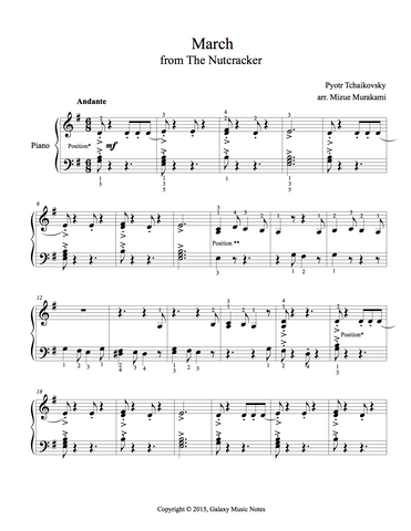 March from The Nutcracker: Level 3 - 1st piano music sheet