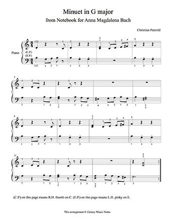 Minuet in G Major Level 3 - 1st piano music sheet