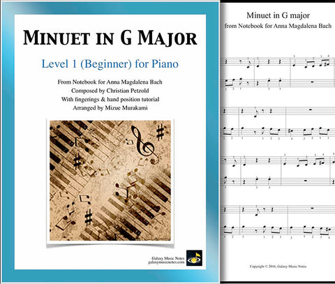 Cover page of Minuet in G Major level 1 piano sheet music