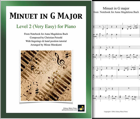 Cover of Minuet in G Major level 2 piano sheet music