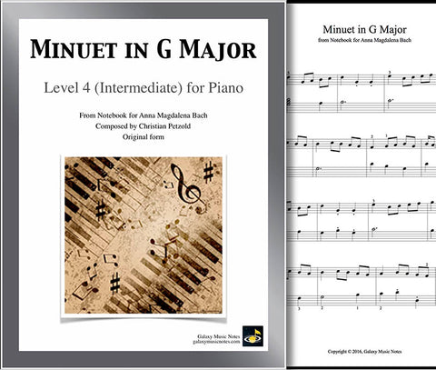 Minuet in G Major Level 4 - Cover sheet & 1st page