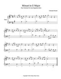 Minuet in G Major - 1st piano music sheet