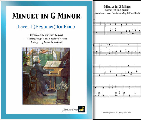 Minuet in G Minor: Level 1 - 1st music page & cover