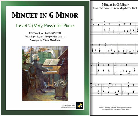 Minuet in G Minor: Level 2 - 1st music sheet & cover