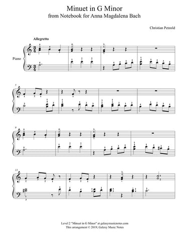 Minuet in G Minor: Level 2 - 1st piano sheet