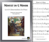 Minuet in G Minor: Level 4 - 1st piano page & cover