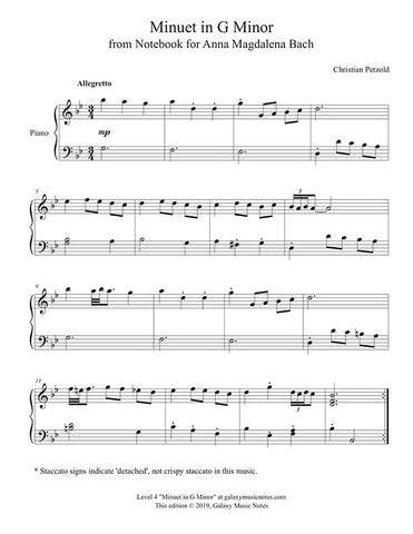 Minuet in G Minor: Level 4 Piano sheet music - page 1