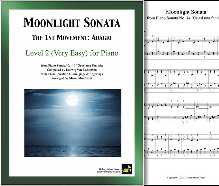 Moonlight Sonata | 1st MVMT | Level 2 - Cover & partial 1st page