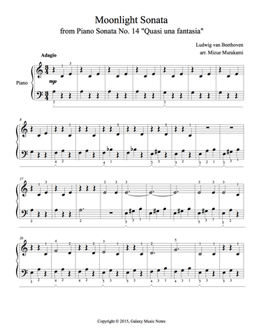 Moonlight Sonata | 1st MVMT | Level 2 - 1st piano music sheet